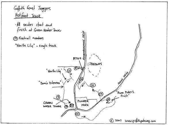 The Griffith Feral Joggers Hotfoot Competition map