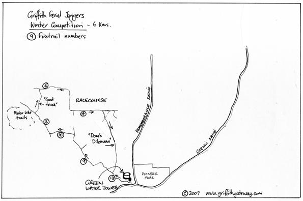 The Griffith Feral Joggers Winter course map